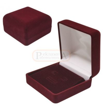 плюшена кутия за висулка, пръстен, обеци, ръкавели, игла за вратовръзка