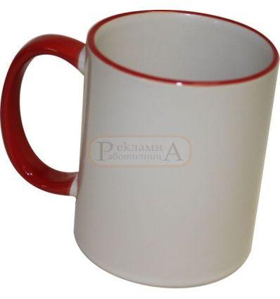 Сублимационна чаша, с цветен червен ръб и дръжка